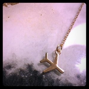 Gold plated dainty airplane necklace